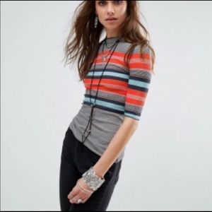 Free People Donna Striped Top. Stretchy fitted top